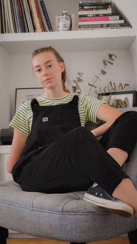 Lucy & Yak Organic Dungarees 'The Organic Original' in Charcoal Black - Old Sizing