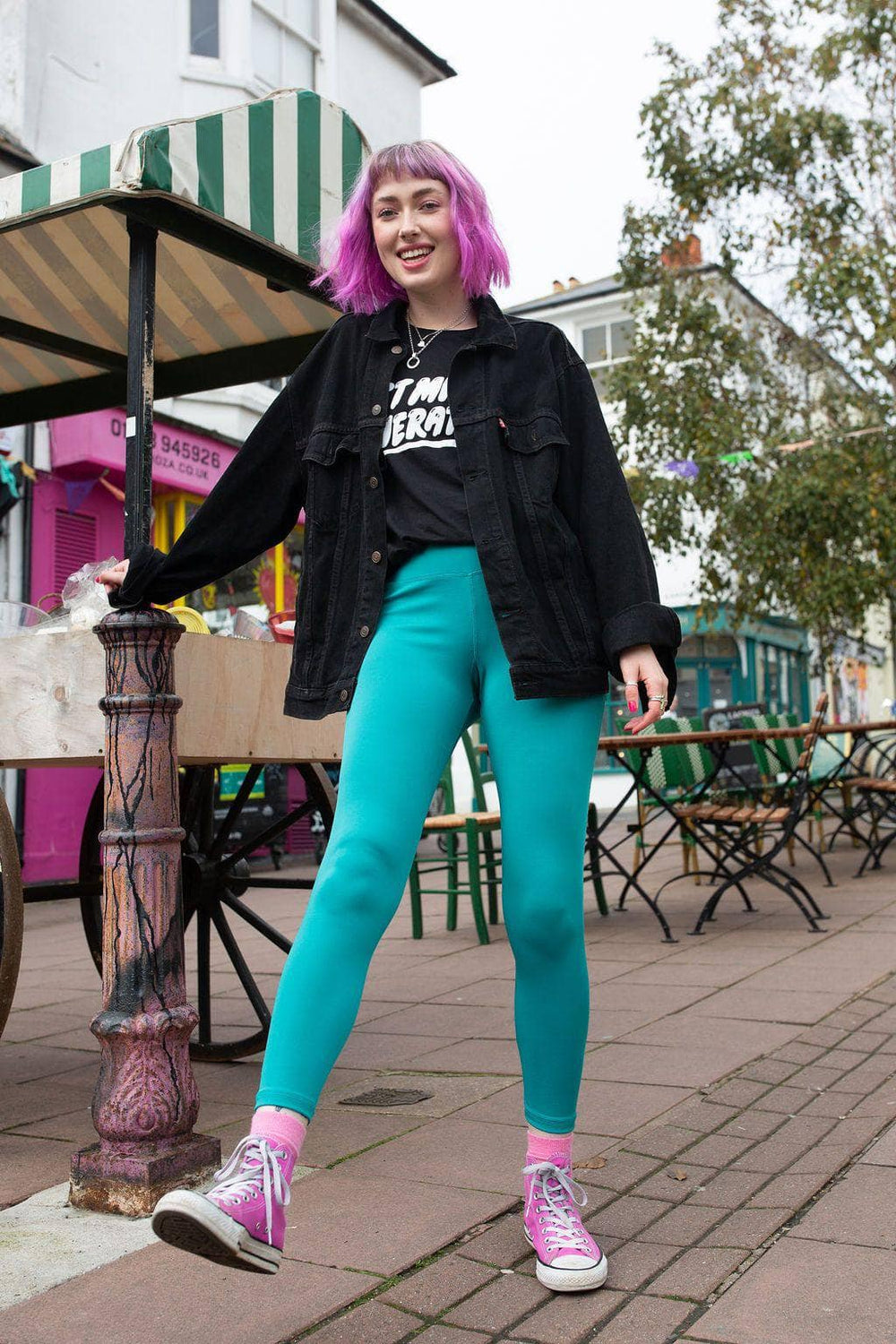 Lucy & Yak Leggings 'Codie' High Waisted Leggings in Teal