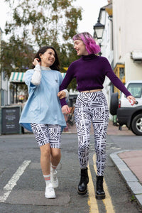 Lucy & Yak Leggings 'Codie' High Waisted Leggings in Black and White Pattern