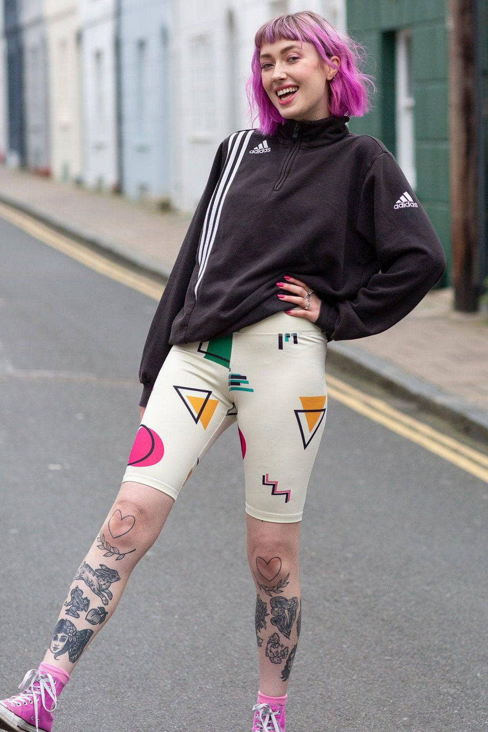 Lucy & Yak shorts 'Dustin' High Waisted Cycling Shorts in 90's Abstract Print