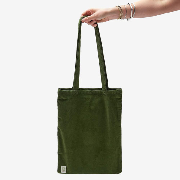 ♻️'Idly' Recycled Corduroy Tote Bag in Moss Green ♻️