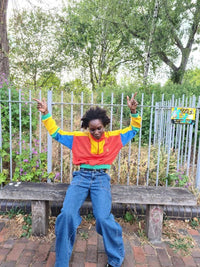 Lucy & Yak Tops Marley Cropped Half Zip Sweater In Red, Yellow, Blue & Green