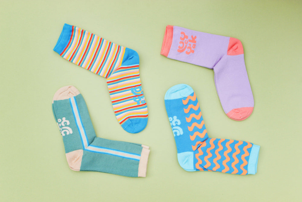 Lucy & Yak Socks The Sundaze Collection - 'Dawn' Organic Cotton Socks in Iris & Dusted Clay