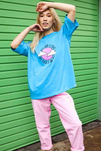 Lucy & Yak Tops Benny Organic Cotton Tee in Blue 'But What If I Fall?' Print