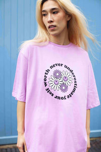 Lucy & Yak Tops Benny Organic Cotton Tee in Lilac 'Self Worth' Print