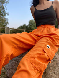 Lucy & Yak trousers Mera Tencel Cargo Pants In Rust Orange
