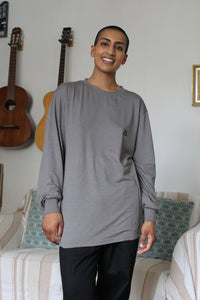Lucy & Yak Tops Kenny Seaweed Long Sleeved Skater Top In Charcoal Grey
