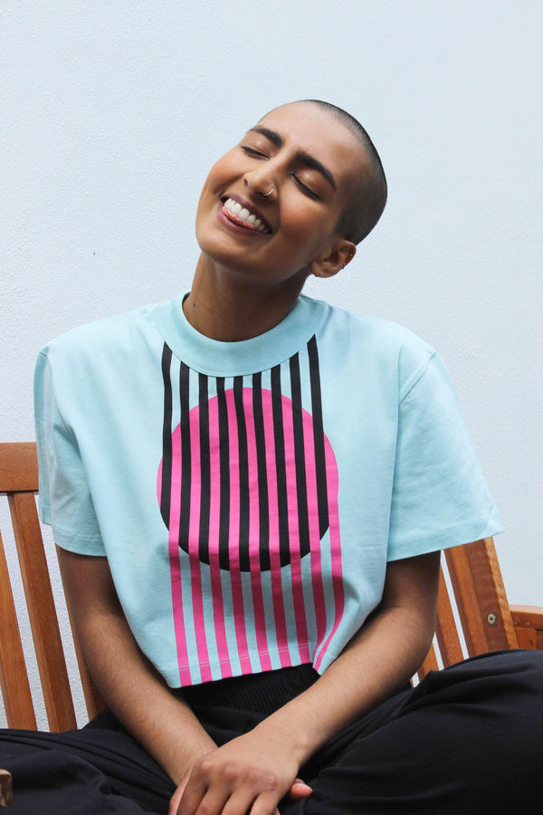 Lucy & Yak Tops 'Nola' Boxy Cut Cropped Tee With Abstract Circle Print in Blue, Black and Pink