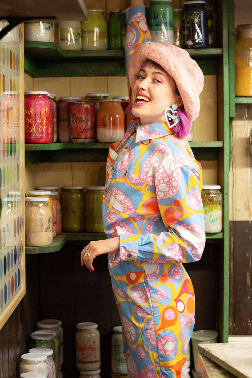 Lucy and Yak jumpsuit 'Jem' Limited Edition Organic Cotton Boilersuit in Blub Print