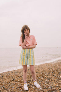 Lucy & Yak shorts 'Neo' Organic Cotton High Waisted Shorts in Yellow, Green and Aqua Stripe