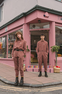 'Eddie' Organic Corduroy Boilersuit in Ash Pink
