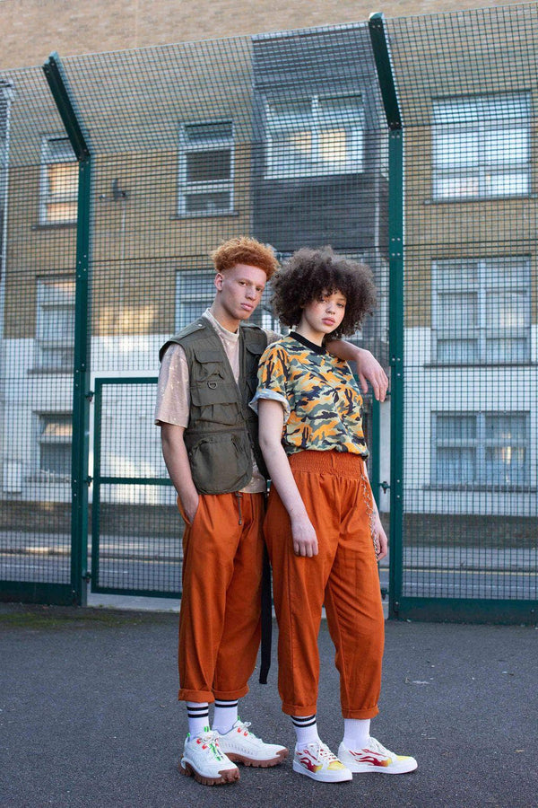 'Organic Alexa' in Rust Orange High Waisted Trousers
