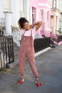 Tall - 'The Organic Original' Corduroy Dungarees in Ash Pink