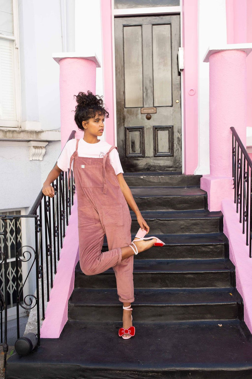 Lucy & Yak Organic Dungarees Tall - 'The Organic Original' Corduroy Dungarees in Ash Pink