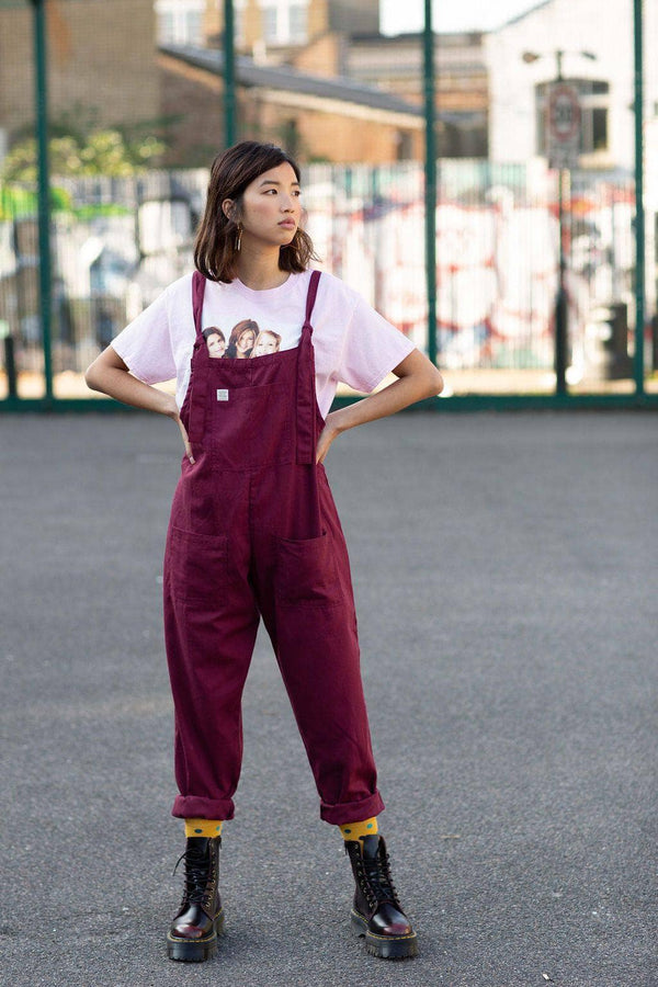 Organic 'Umi' Cotton Dungarees in Maroon
