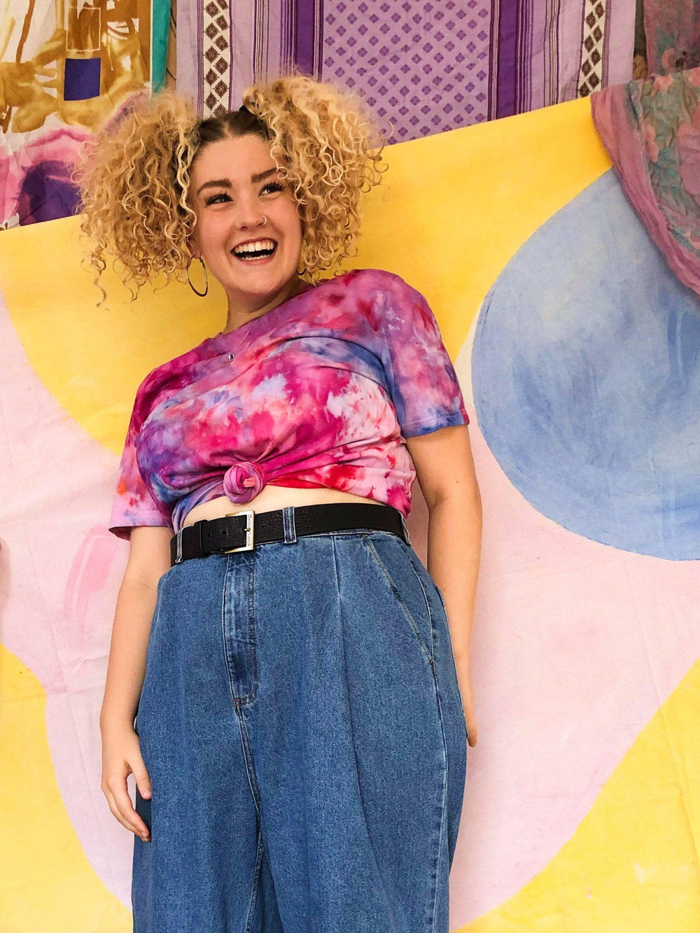 Lucy & Yak Tops Stanley Tie Dye Tee In Pink - We Are Hairy People x Lucy & Yak
