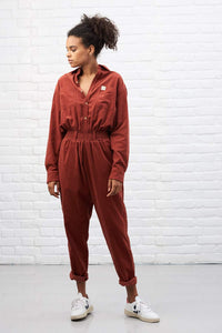 Lucy & Yak Dungarees 'Eddie' Oversized Organic Corduroy Boilersuit in Clay