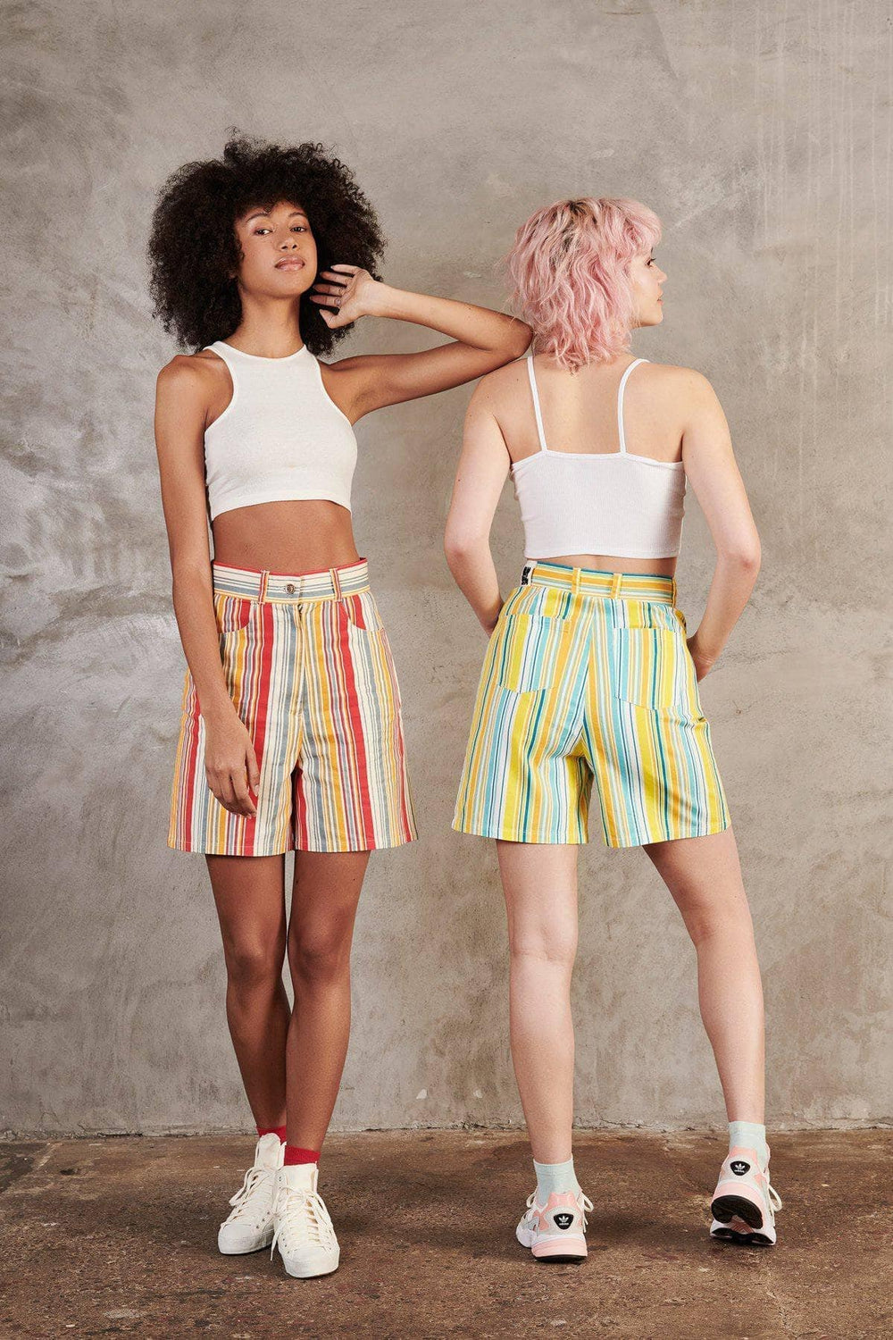 Lucy & Yak shorts 'Neo' Organic Cotton High Waisted Shorts In Yellow Stripe