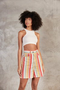 Lucy & Yak shorts 'Neo' Organic Cotton High Waisted Shorts In Red Stripe