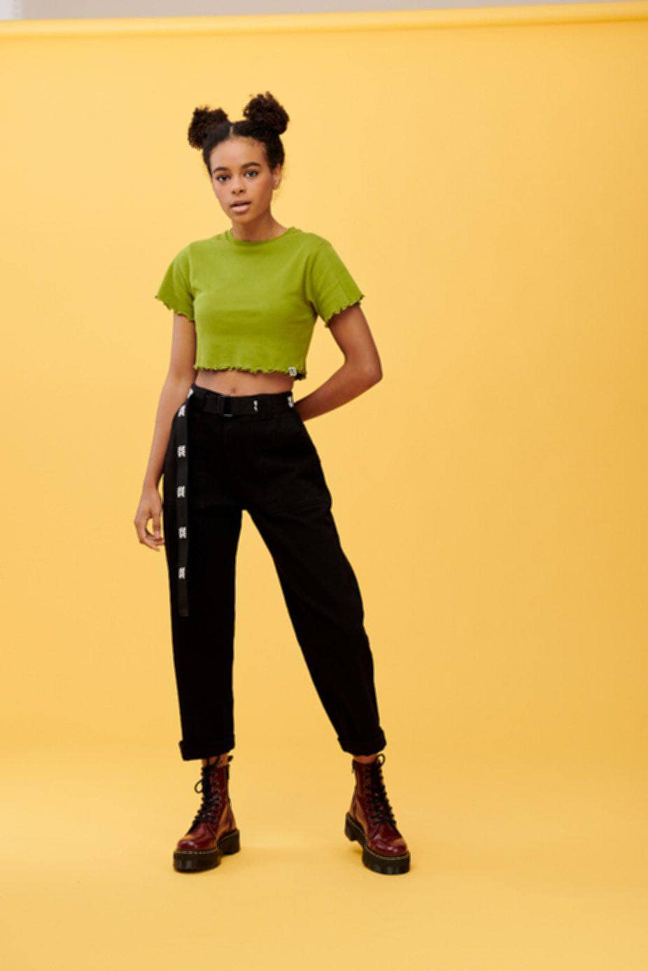 Lucy & Yak Tops 'Ari' Lettuce Hem Cropped Tee in Green