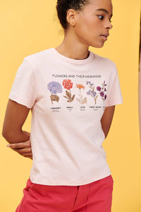 Lucy & Yak Tops 'Flowers' Organic Ribbed Tee in Pink with Botanical Drawings