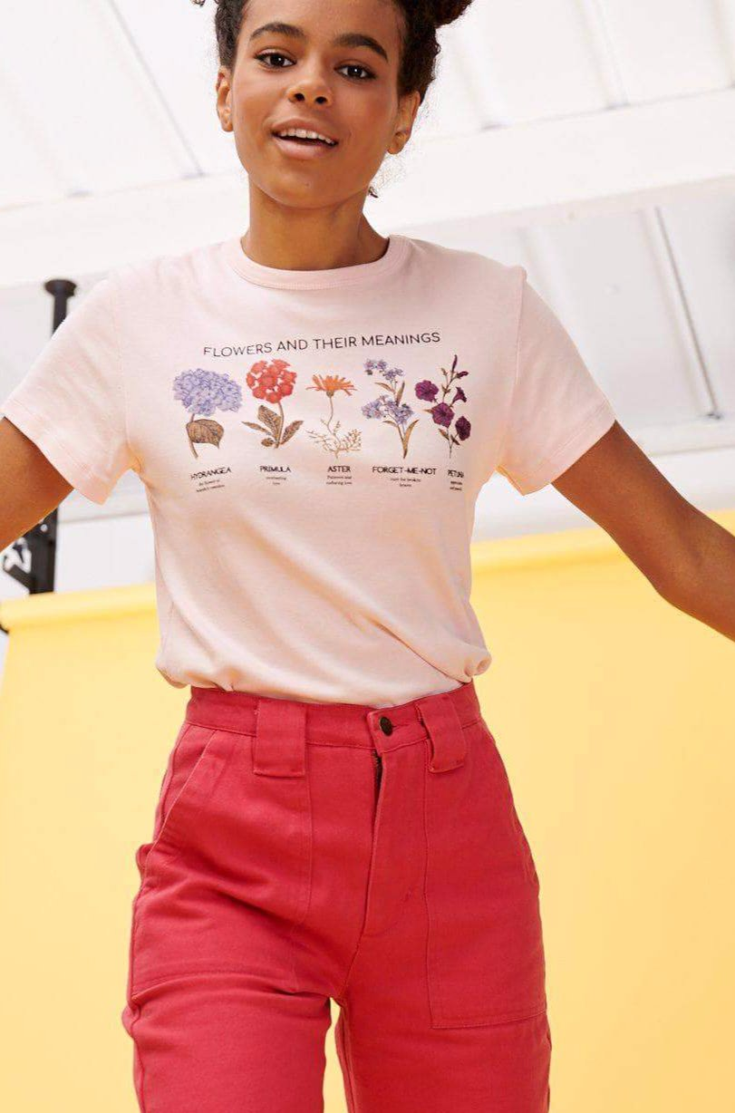 Lucy & Yak Tops 'Flowers' Teeshirt In Pink