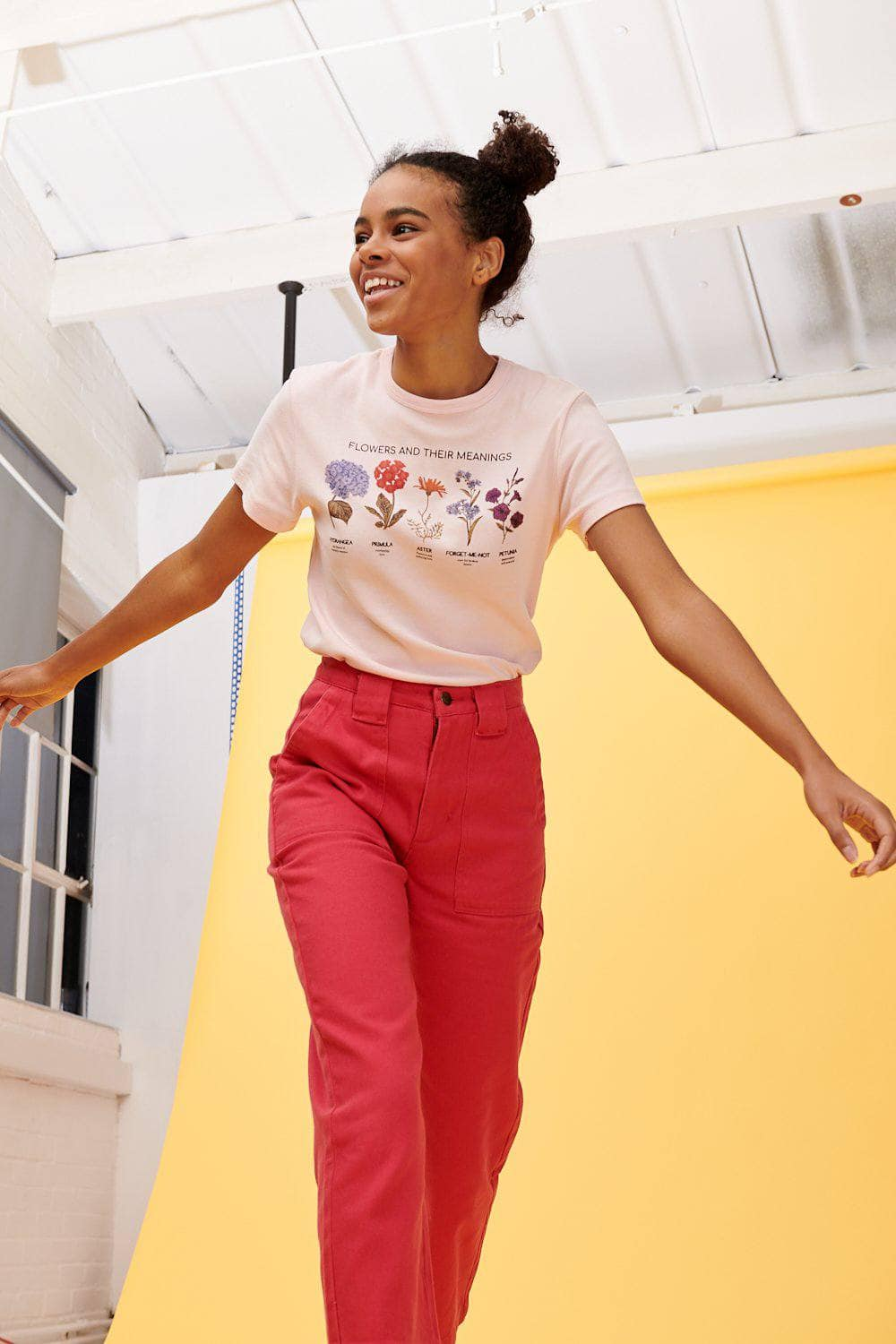 Lucy & Yak Tops 'Flowers' Organic Ribbed Tee in Pink