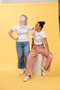 Lucy & Yak Tops 'Trash Splash' Teeshirt In Ecru