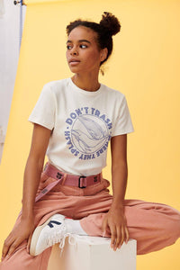 Lucy & Yak Tops 'Trash Splash' Organic Cotton Tee in Ecru with Whales