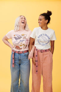 Lucy & Yak Tops 'Ocean' Organic Ribbed Tee in Pink