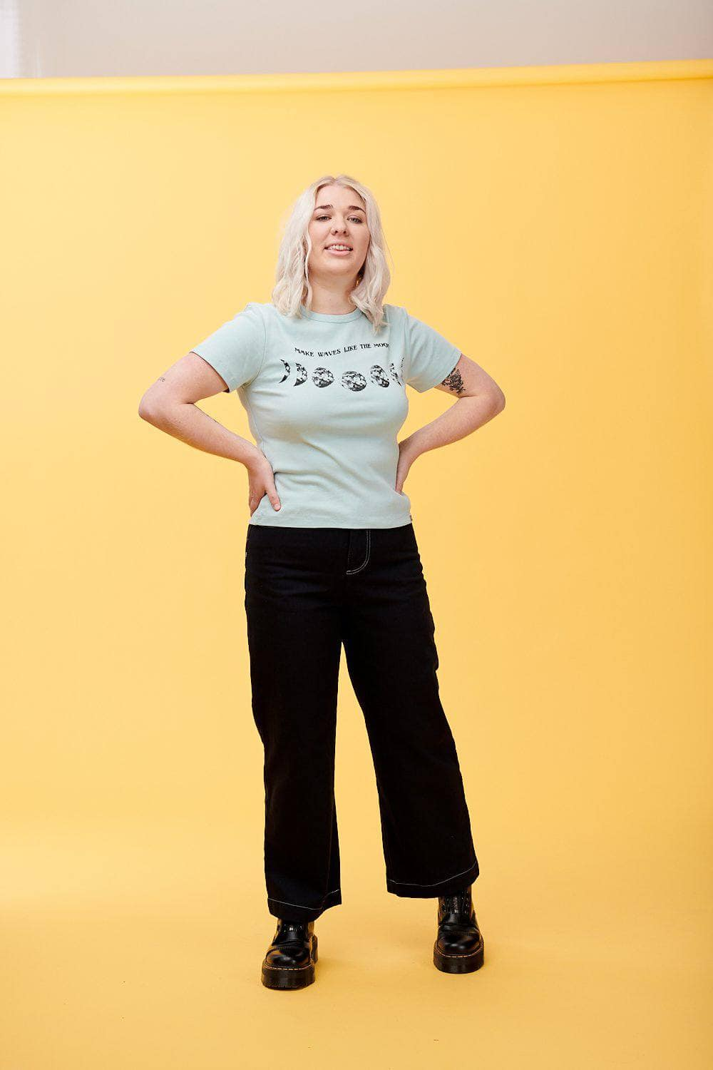 Lucy & Yak Tops 'Moon' Organic Ribbed Tee in Eggshell Blue