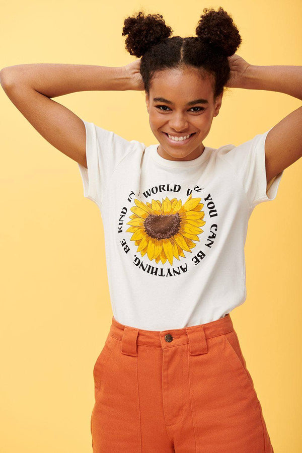 Lucy & Yak Tops 'Be Kind' Teeshirt In Ecru