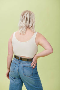 Lucy & Yak Tops 'Piper' Crop Top In Ecru