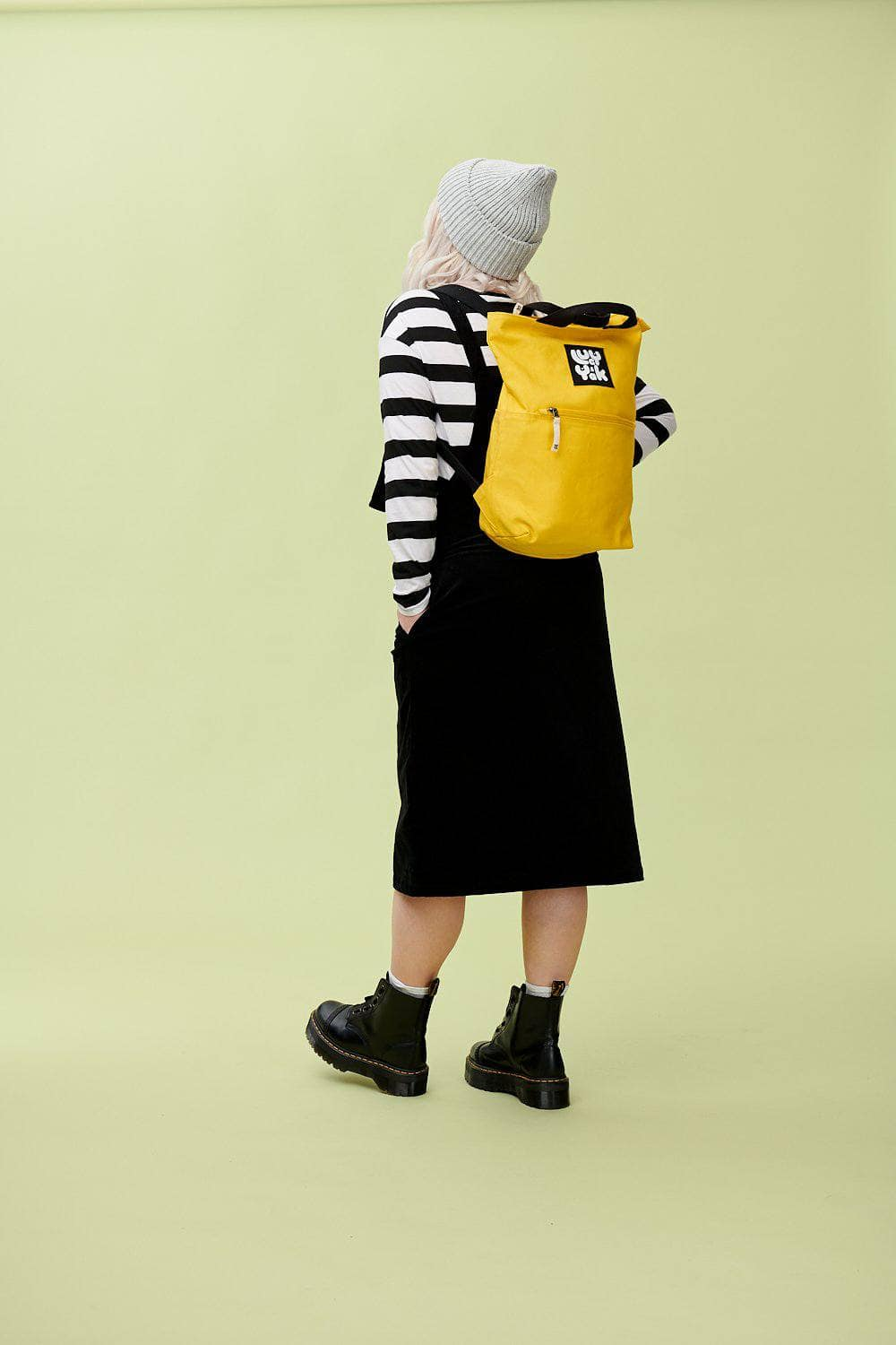 Lucy & Yak Bag 'Dylan' Organic Cotton Canvas Backpack In Cyber Yellow