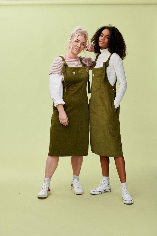 Lucy & Yak Dress 'Freyja' Corduroy Midi Dungaree Dress In Olive Green