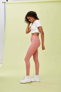 Lucy & Yak Leggings 'Wye' High Waisted Bamboo Leggings in Rose Pink