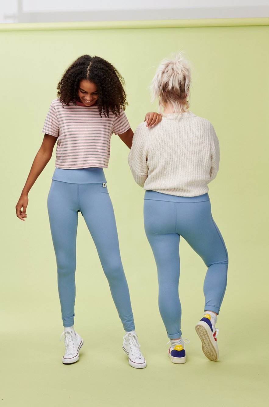 Lucy & Yak Leggings 'Wye' High Waisted Bamboo Leggings In Ash Blue