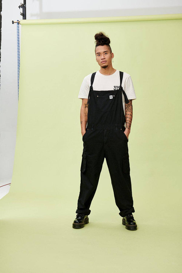 Lucy & Yak Dungarees 'Colorado' Cargo Dungarees in Black - Tall