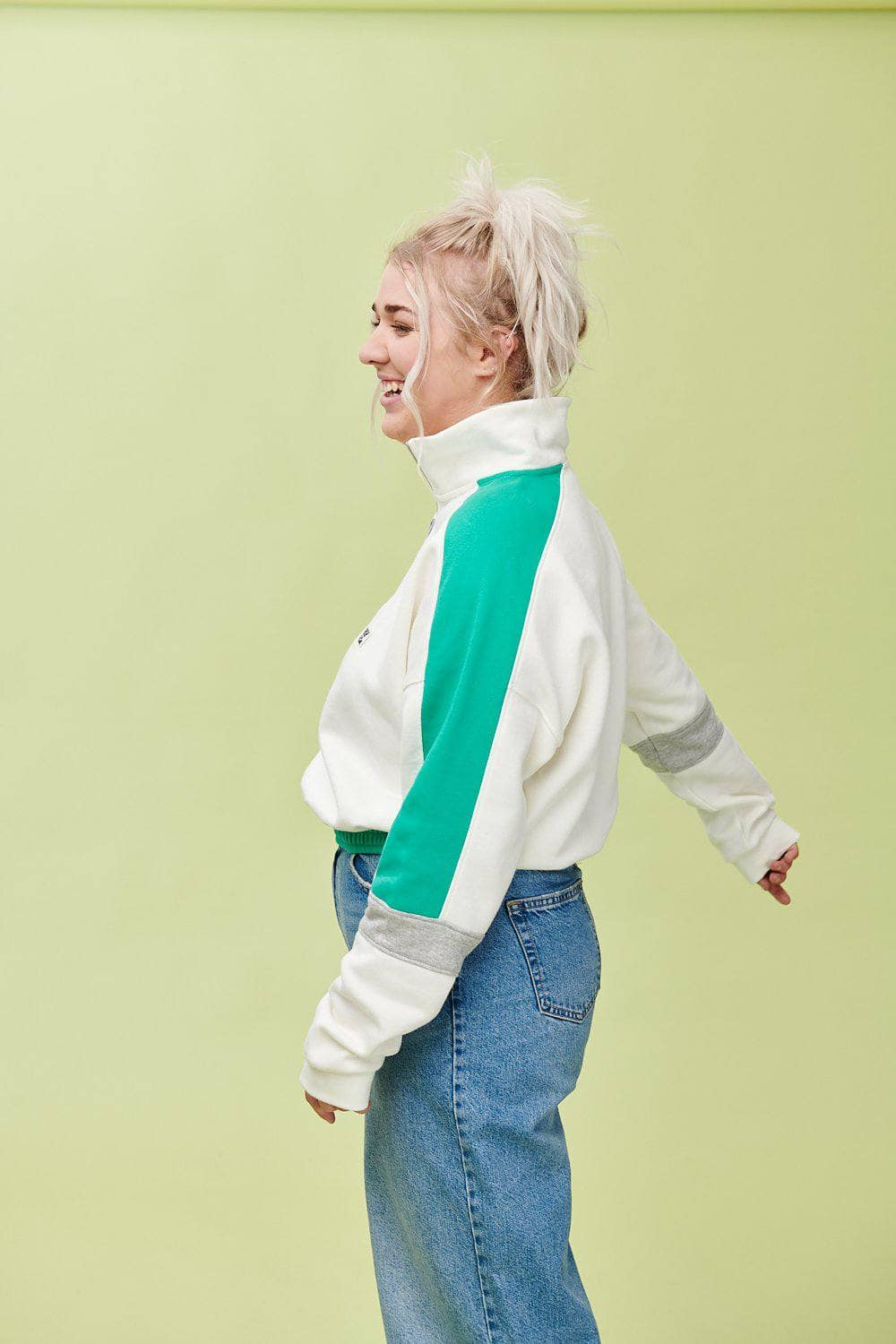 Lucy & Yak Tops 'Marley' Cropped Half Zip Sweater In Cream