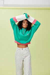 Lucy & Yak Tops 'Marley' Cropped Half Zip Sweater In Teal