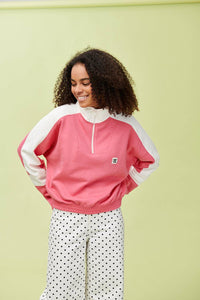 Lucy & Yak Tops 'Marley' Cropped Half Zip Sweater in Pink with Ecru Panels