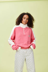 Lucy & Yak Tops 'Marley' Cropped Half Zip Sweater In Pink
