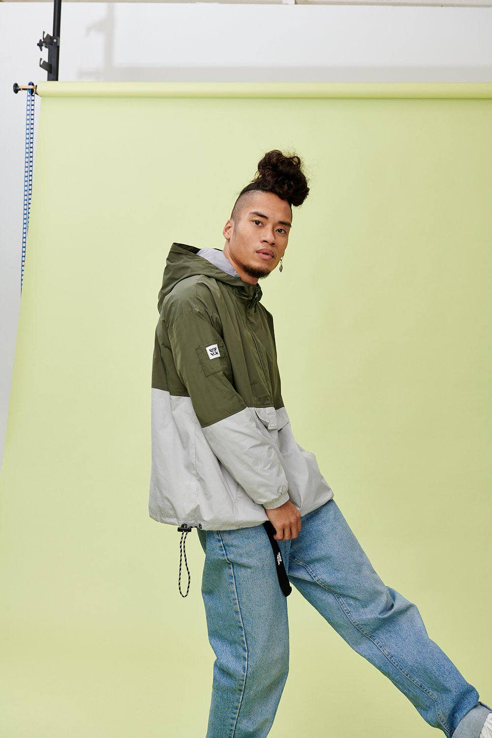 Lucy & Yak coat 'Tucker' Jacket in Khaki Green & Grey
