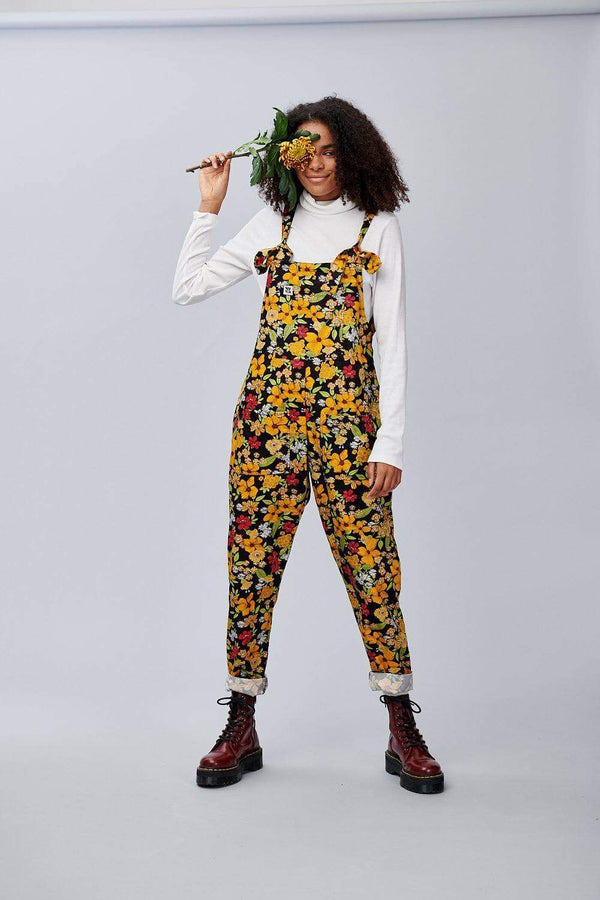 Lucy & Yak Dungarees Mustard Floral Limited Edition Dungarees in Organic Cotton