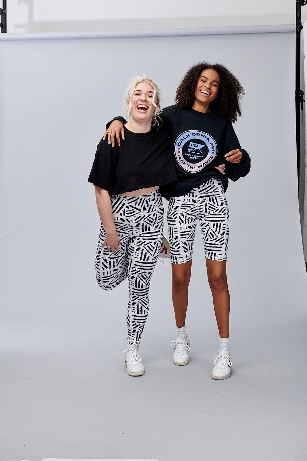 Lucy & Yak Leggings 'Codie' High Waisted Leggings in Black and White Print