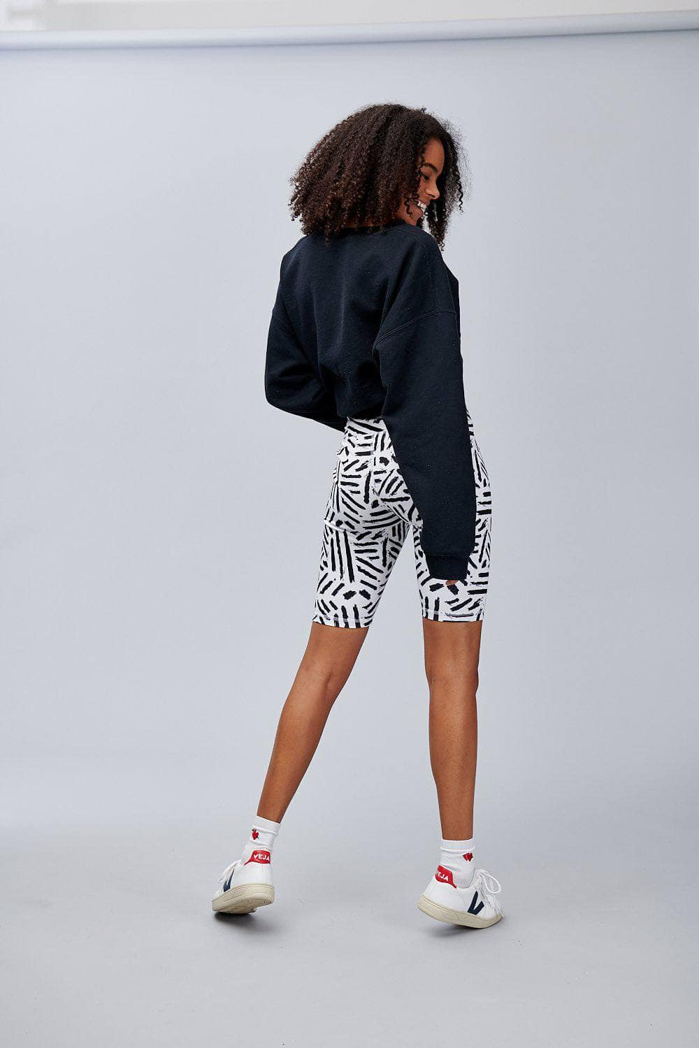 Lucy & Yak shorts 'Dustin' High Waisted Cycling Shorts in Black and White Print