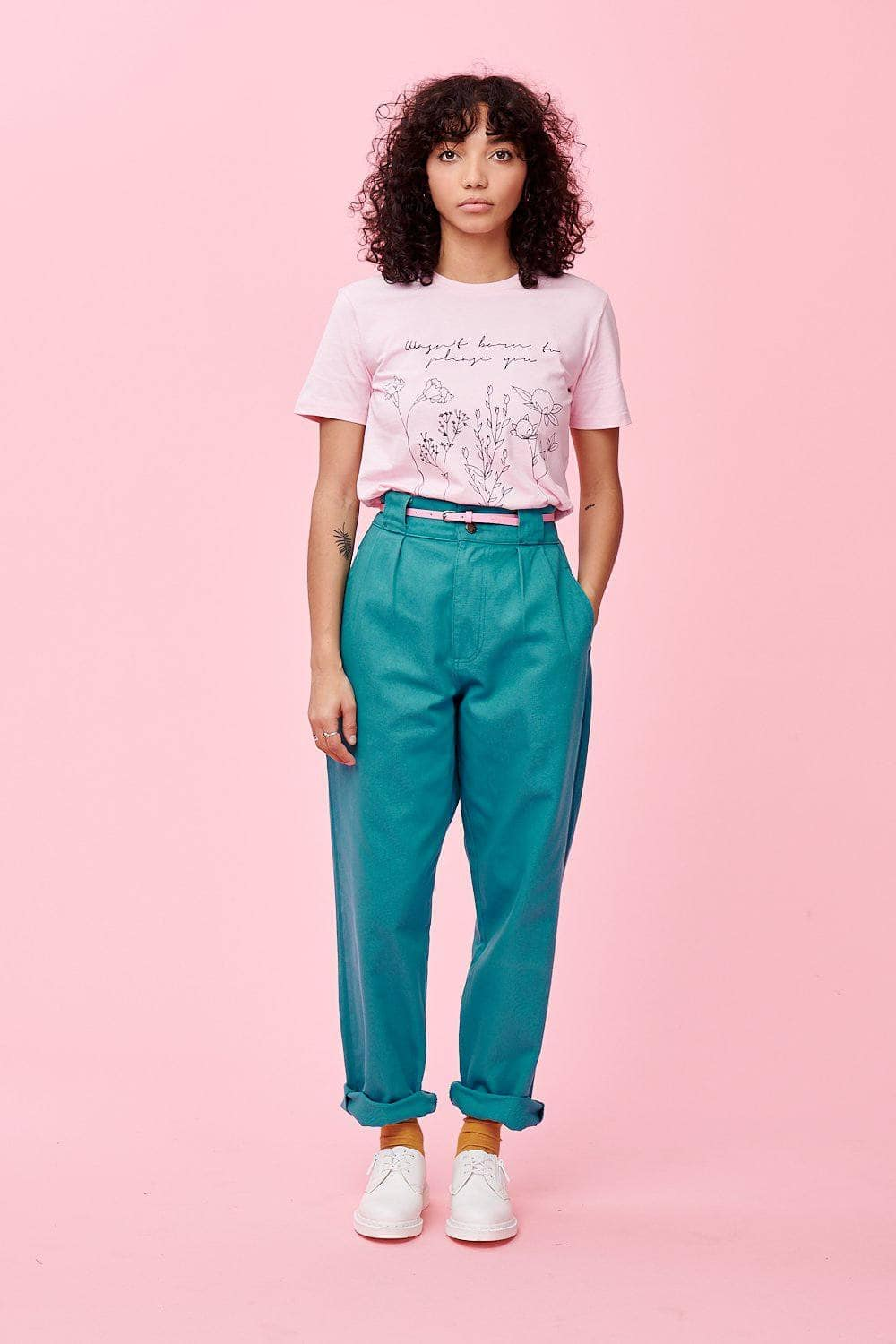 Lucy & Yak jeans 'Addison' High Waisted Organic Cotton Twill Jeans in Jade