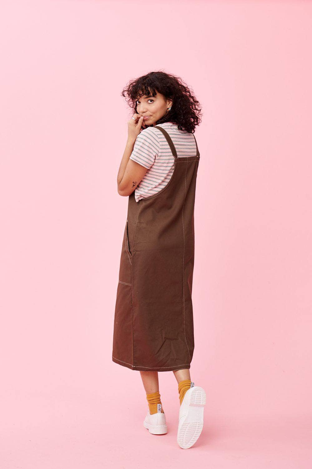 Lucy & Yak Dress Made In Britain - Leigh Midi Dress In Olive