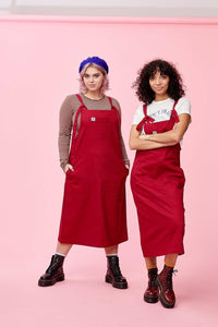 Lucy & Yak Dress Made in Britain - Leigh Midi Dress in Redcurrant