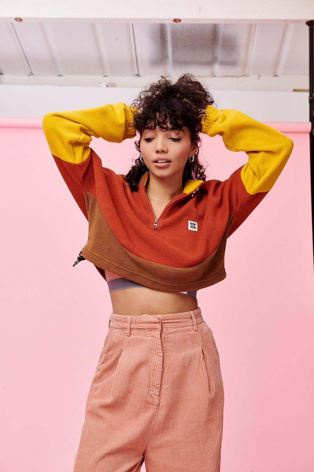 Lucy & Yak Tops 'Blake' Cosy Cropped Fleece in Rust, Mustard & Brown